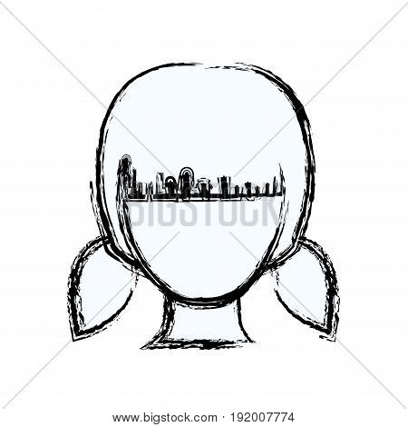 blurred silhouette faceless girl with pair pigtails hairstyle vector illustration