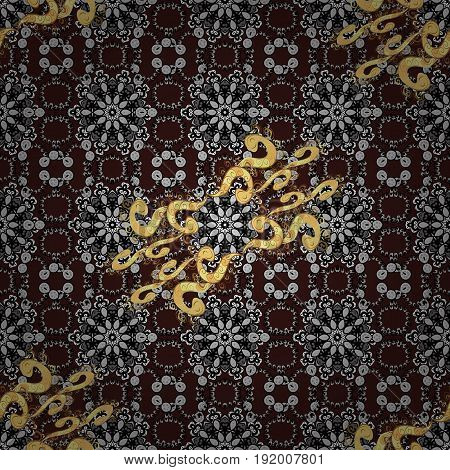 Seamless golden texture curls. Openwork delicate golden pattern. Seamless pattern on brown background with golden elements. Vector oriental style arabesques. Brilliant lace stylized flowers paisley.