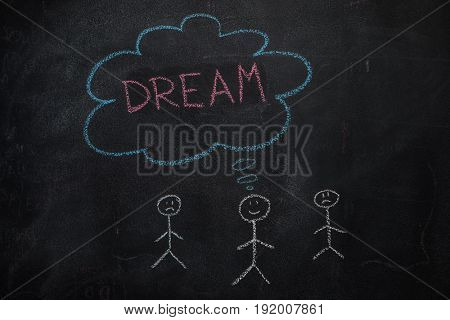 Symbol of human with blue cloud and red dream word drawn, written with chalk on blackboard