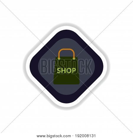 paper sticker on white background basket shop