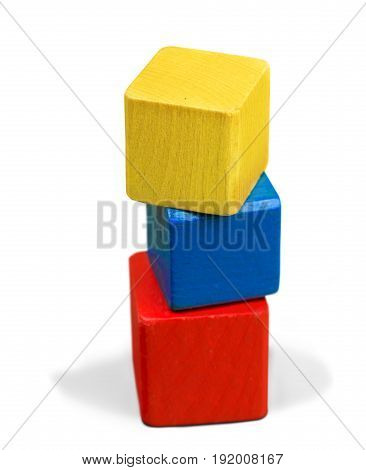 Wooden stack toy wood blocks game color