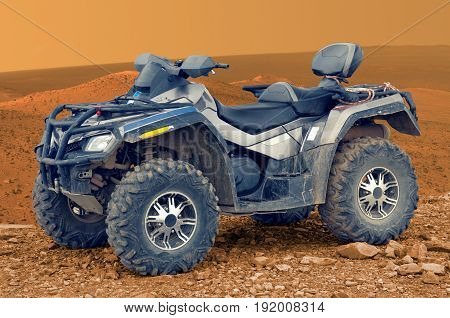 All-terrain vehicle on Mars. Elements of this image furnished by NASA.