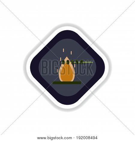 paper sticker on white background meat roasted on fire