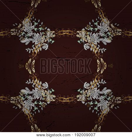 Classic vector brown and golden pattern. Traditional orient ornament. Classic vintage background.