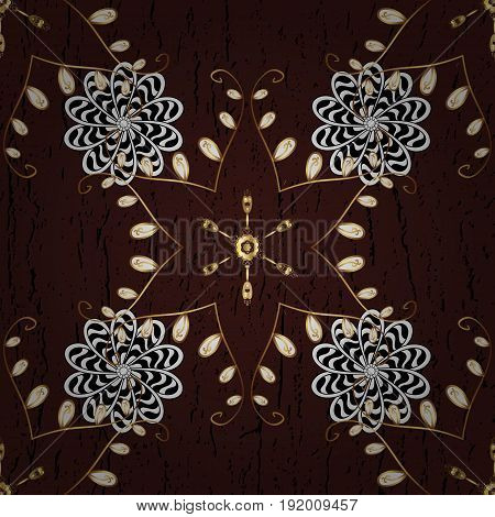 Luxury royal and Victorian concept. Ornate vector decoration. Golden element on brown background. Vintage baroque floral pattern in gold over brown.