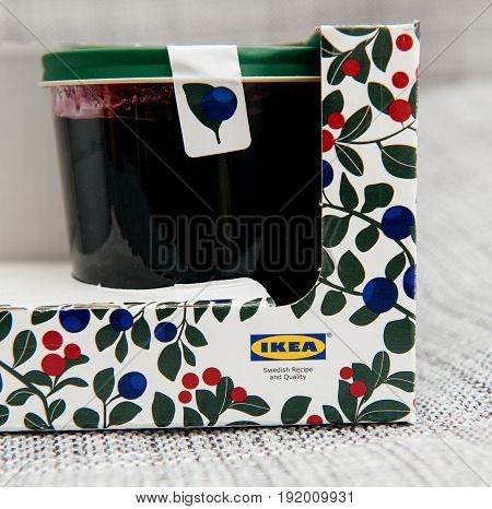 PARIS FRANCE - OCT 25 2016: IKEA food package - Swedish jam made from organic lingonberry and blueberry fruits. IKEA Foods is a division of IKEA furniture. IKEA is a Scandinavian chain selling ready-to-assemble furniture plus housewares in a warehouse-lik