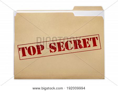 Secret top folder red white background object