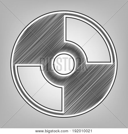 Vector CD or DVD sign. Vector. Pencil sketch imitation. Dark gray scribble icon with dark gray outer contour at gray background.
