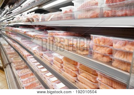 Fresh meat products in butcher shop