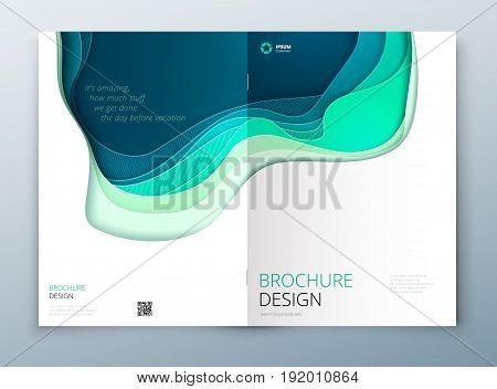 Paper cut brochure design. Paper carve abstract cover for brochure flyer magazine annual report or catalog design. Brochure in teal green colors for eco nature health medical concept
