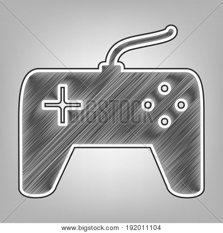 Joystick simple sign. Vector. Pencil sketch imitation. Dark gray scribble icon with dark gray outer contour at gray background.