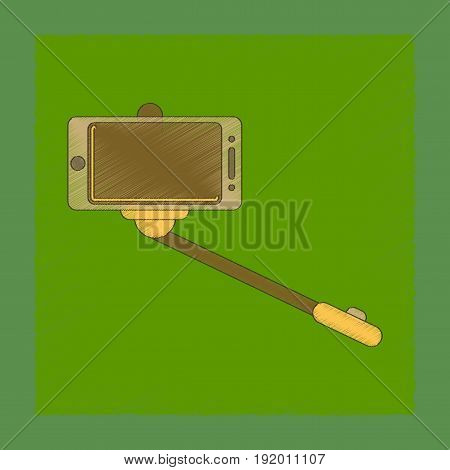 flat shading style icon of Smartphone selfie stick
