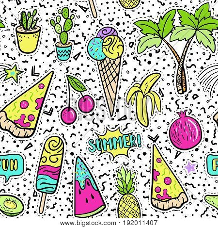 Hand Drawn Fashion Patches Tropical Elements: Avocado, Banana, Watermelon, Tropical Palm, Pizza Seam