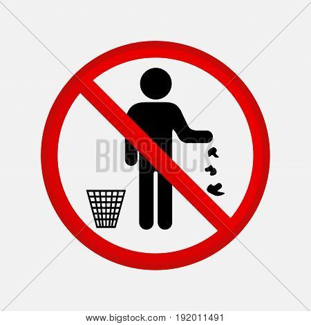 It is forbidden to throw garbage no debris editable image