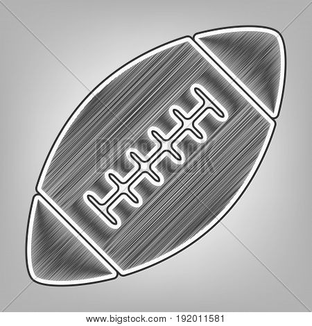 American simple football ball. Vector. Pencil sketch imitation. Dark gray scribble icon with dark gray outer contour at gray background.