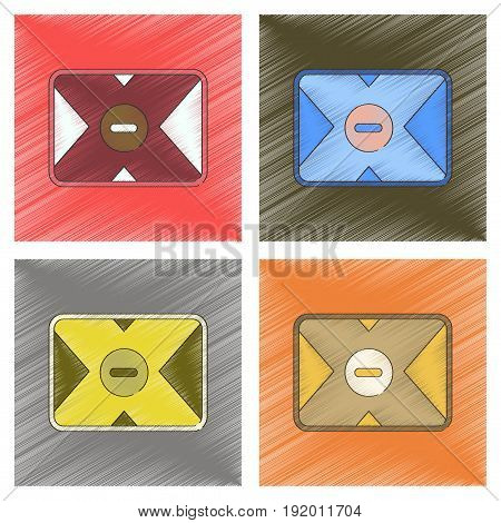 assembly flat shading style illustration of removable hard drive
