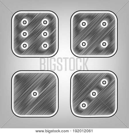 Devils bones, Ivories sign. Vector. Pencil sketch imitation. Dark gray scribble icon with dark gray outer contour at gray background.