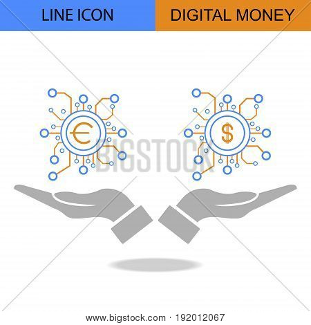 Exclusive Double Digital Money Flat Line vector icon.