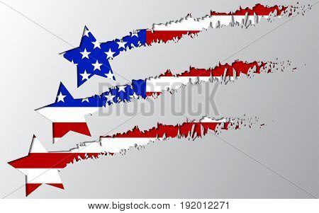 vector usa flag under star break. Rupture