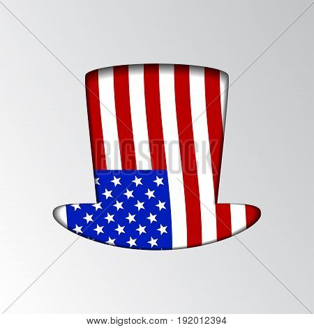 Illustration of an silhouette Uncle Sam patriotic hat. Illustration vector