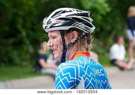 STILLWATER, MINNESOTA/USA - JUNE 18, 2017: Lily Williams wins the Women's Best Amateur classification of the North Star Grand Prix completing the final stage of the pro cycling race.