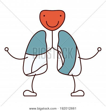 color sections hand drawing contour caricature respiratory system with windpipe vector illustration