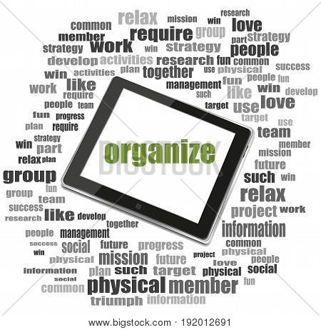 Social Concept. Word Organize . Word Collage With Tablet Pc