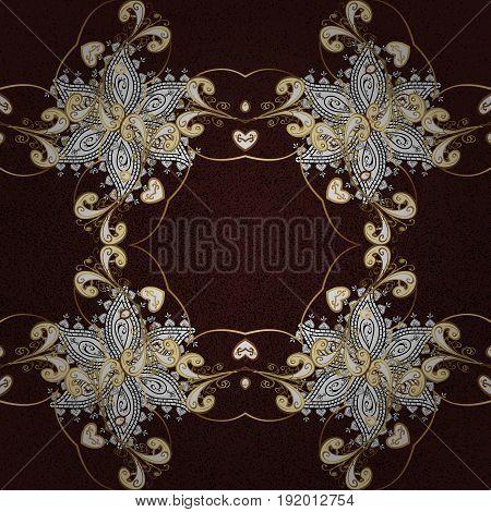Vector illustration for invitations cards certificate web page. Golden element on brown background. Eastern style element. Golden outline floral decor. Vector line art border for design template.