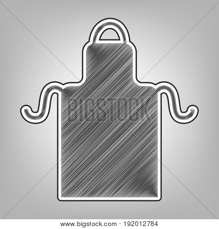 Apron simple sign. Vector. Pencil sketch imitation. Dark gray scribble icon with dark gray outer contour at gray background.