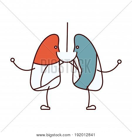 color sections caricature with happy face respiratory system vector illustration