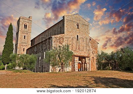 Montalcino, Tuscany, Italy: Abbey of Sant'Antimo, the medieval catholic church in the province of Siena is a former Benedictine monastery. It is one of the most important architectures of the Tuscan Romanesque.