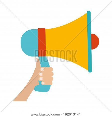 white background with colorful hand holding megaphone vector illustration