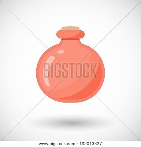 Potion jar vector flat icon Flat design of magic alchemy or medicine object with round shadow cute isolated vector illustration