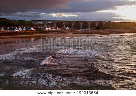 Cullen village bathed in evening sun, Moray, Scotland