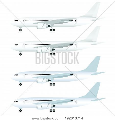 airplane white set flight art illustration on white