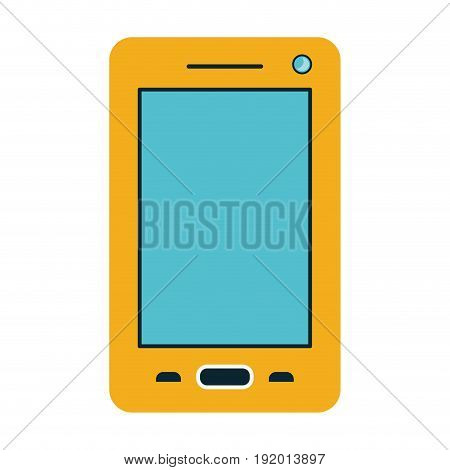white background with yellow cover on smartphone vector illustration