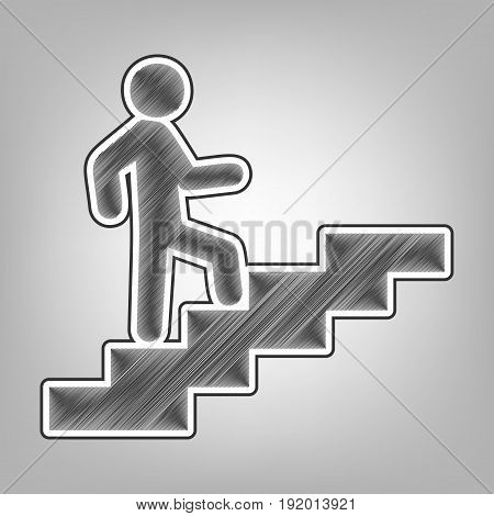 Man on Stairs going up. Vector. Pencil sketch imitation. Dark gray scribble icon with dark gray outer contour at gray background.