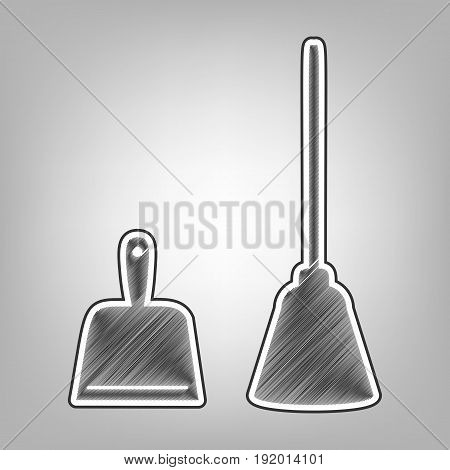 Dustpan vector sign. Scoop for cleaning garbage housework dustpan equipment. Vector. Pencil sketch imitation. Dark gray scribble icon with dark gray outer contour at gray background.