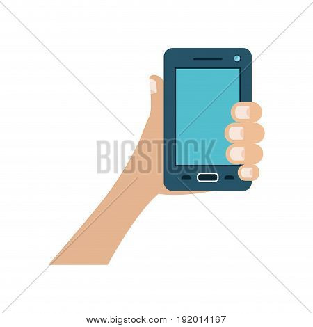 white background with colorful hand holding smartphone vector illustration