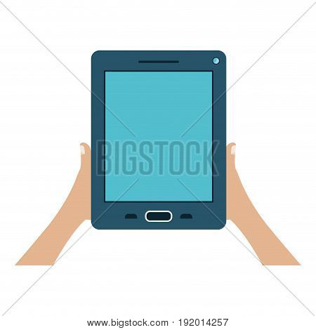 white background with colorful hands holding tablet device vector illustration