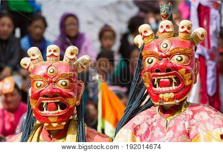 Monks Perform A Religious Mask Dance Of Tibetan Buddhism