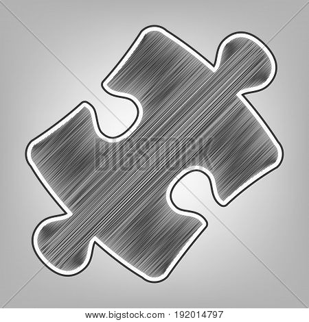 Puzzle piece sign. Vector. Pencil sketch imitation. Dark gray scribble icon with dark gray outer contour at gray background.