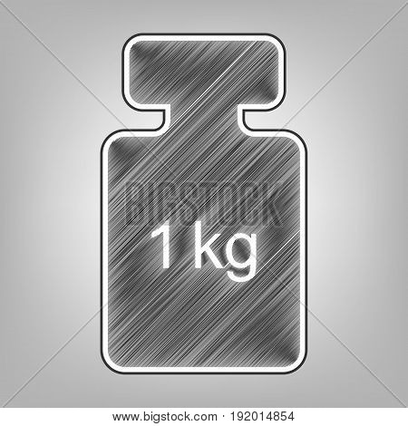 Weight simple sign. Vector. Pencil sketch imitation. Dark gray scribble icon with dark gray outer contour at gray background.