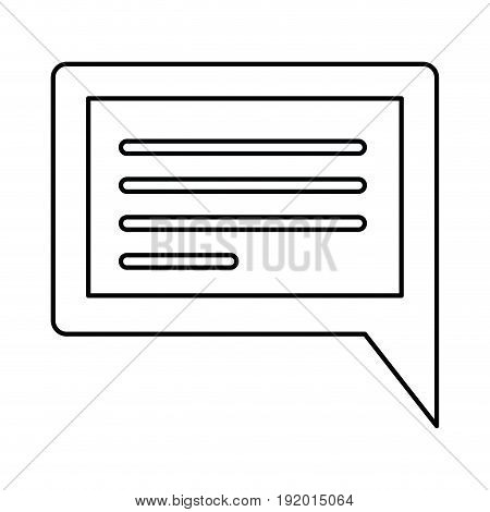 white background with monochrome silhouette rectangular dialogue in closeup vector illustration