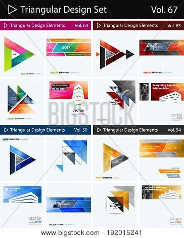 Abstract vector design elements for graphic layout. Modern business background template with colourful triangles, arrows for printing, innovative technology. Super collection. Set