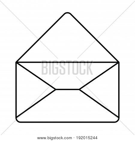 white background with monochrome silhouette of envelope mail opened in closeup vector illustration
