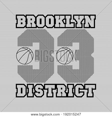 t-shirt basketball fashion Typography sport emblem design Number with basketball ornament
