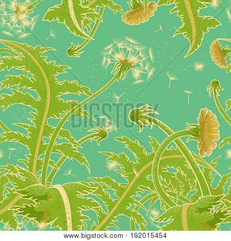 Bright sunny vector seamless pattern of a field of dandelion growing on the background of turquoise sky. Blowball fly in the wind. Flower backdrop for printing on fabric or gift wrapping.