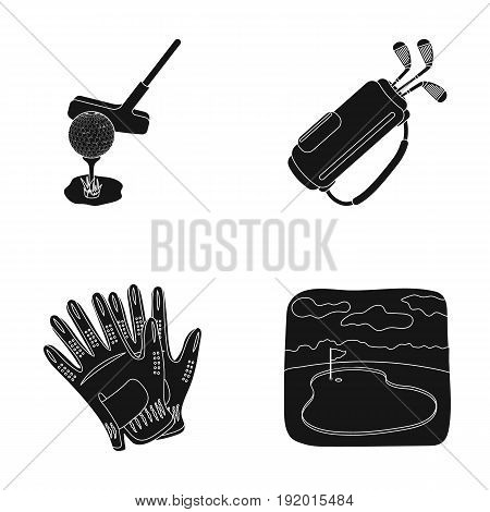 A ball with a golf club, a bag with sticks, gloves, a golf course.Golf club set collection icons in black style vector symbol stock illustration .