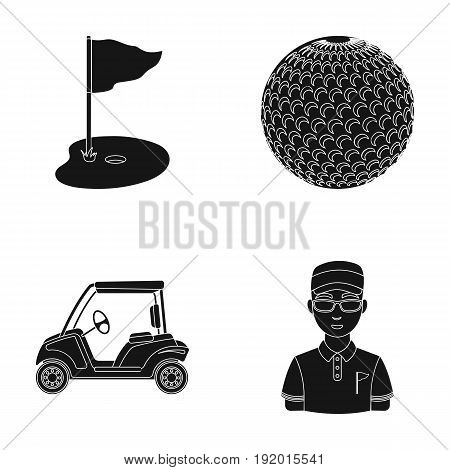 Field with a hole and a flag, a golf ball, a golfer, an electric golf cart.Golf club set collection icons in black style vector symbol stock illustration .